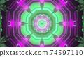 Sci fi corridor in neon illumination 3d illustration 74597110
