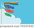 兒童節鯉魚旗和藍天海報 74597445