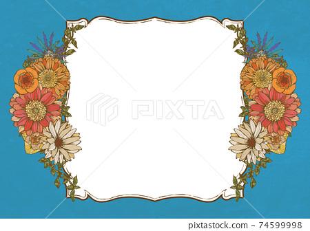 復古流行夏季花卉天藍色淺藍色背景材料古董復古設計 74599998