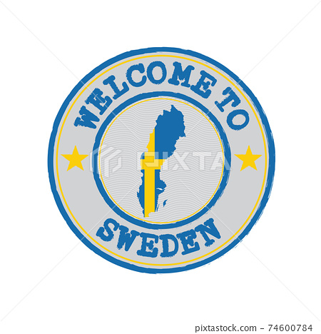 Vector stamp of welcome to Sweden with map outline of the nation in center. 74600784