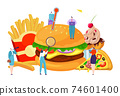 Fast food tiny people quality control, healthy lifestyle, enjoyable meal, cartoon style vector illustration, isolated on white. 74601400