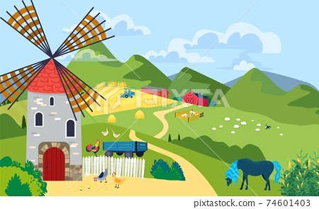 Farm with mill landscape in mountain area, ranche outdoors, village house on hill, design cartoon style vector illustration. 74601403