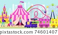 Family and kids spend time in amusement park, various entertainment, carnival in city, design cartoon style vector illustration. 74601407