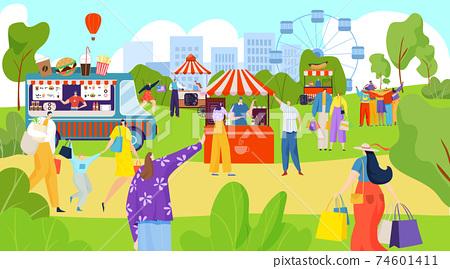 Fair festive on street, food market, city festival, sales business, outdoor event, design cartoon style vector illustration. 74601411