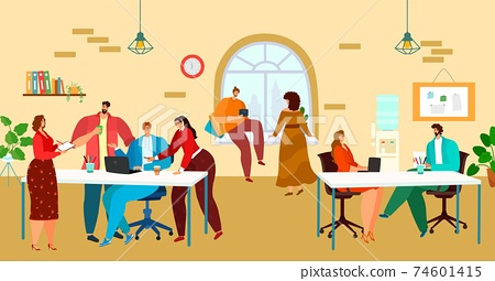 Coworking, office workspace, people work together in team, creative business process, design cartoon style vector illustration. 74601415