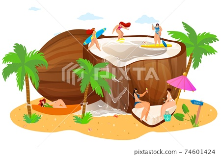 oconut with tiny people on beach, concept, summer vacation, trip for travel tropical vacation, cartoon style vector illustration. 74601424