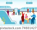Modern city, public transport, high-speed train for comfortable travel, urban vehicle on rails, cartoon style vector illustration. 74601427