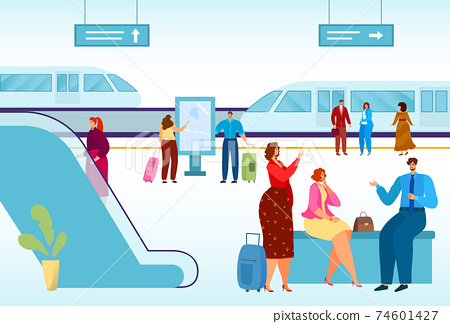Modern city, public transport, high-speed train for comfortable travel, urban vehicle on rails, cartoon style vector illustration. 74601427