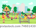 City playground in summer park, play time for children, joyful fun and games outdoors, design cartoon style vector illustration. 74601430