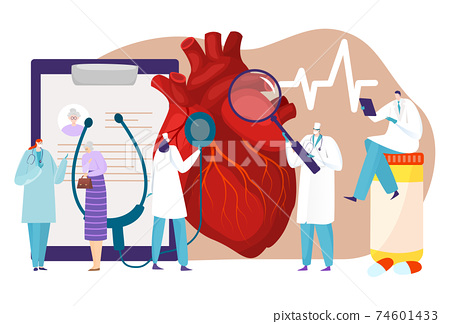 Human circulatory system, patient heart disease, medical research, cardiology department, tiny cartoon style vector illustration. 74601433