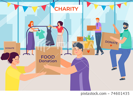 Inscription charity, people donate things and food, donation in box, social volunteers, design cartoon style vector illustration. 74601435