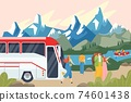 Bus stopped, tourists admire mountain landscape, road trip by transport, business tourism, cartoon style vector illustration. 74601438