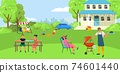 BBQ cooking, meat barbecue, outdoor, backyard people party, joyful family vacation, design cartoon style vector illustration. 74601440