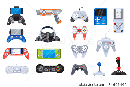 Video game joystick icons and gamers gadgets technology, controller set of vector illustrations. Electronic video gamepad. 74601442