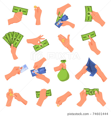Hand holding money vector illustration set, cartoon flat human hands collection with cash money 74601444