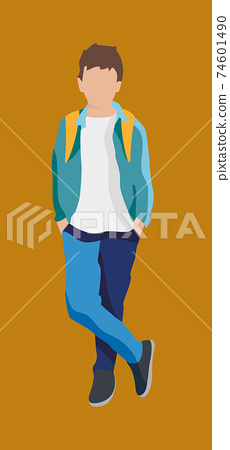 Cartoon teenager boy student with backpack 74601490