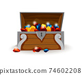 Treasure chest isometric cartoon. Wooden open box full of gold coins and jewels. Precious treasures, crystals, gems and golden coins in pirate chest. Illusration for game user interface 74602208