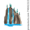 Cartoon river waterfall. Landscape with mountains and trees. Design element for travel brochure or illustration mobile game. Fresh natural water 74602222
