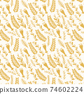 Abstract fashion design of seamless background. Vector organic print pattern. Repeating graphic design. Modern stylish texture. Pastel fabric drapery with leafs 74602224