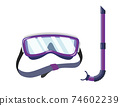 Snorkel mask for diving and swimming. Illustration of scuba diving, swimming masks with snorkel. Realistic diver equipment for summer holidays 74602239