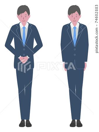 穿著西裝的男人巧妙地鞠躬 74602883