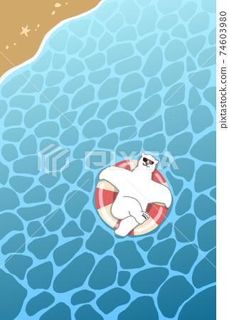 여름 안부 편지 템플릿 북극곰 문자 없음 74603980