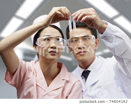 two asian scientist working in lab looking at test tubes 74604162