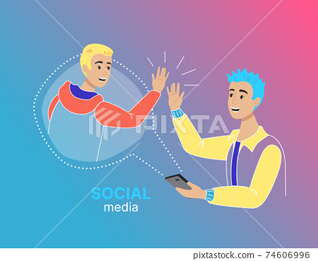 Concept of Social Media with people, flat design, vector illustration 74606996