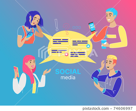 Concept of Social Media with people, flat design, vector illustration 74606997