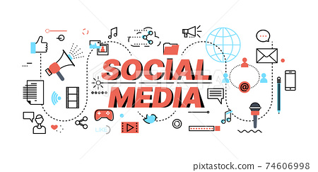 Concept of Social Media and Networking, flat line design, vector illustration 74606998