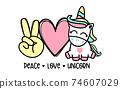 Peace Love Unicorn.  For Valentine day and Horse lover design on t-shirt, mug, bag, mask background illustration. 74607029