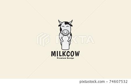 dairy cows cartoon lines with milk bottle logo design vector icon symbol illustration 74607532