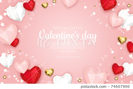Valentine s day sale background with heart. Universal vector background for poster, banners, flyers, card. 74607900