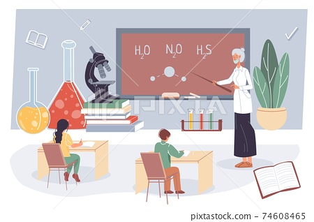 Flat cartoon characters students and teacher,offline online education vector illustration concept 74608465