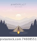 wanderlust camping adventure in the wilderness tent in the forest at mountain landscape 74608551
