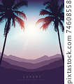 luxury holiday palm tree silhouette background 74608558