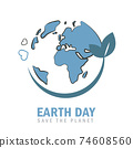 earth day globe environmentalism symbol with green leaves 74608560