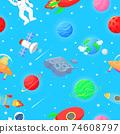 Flat cartoon style funny cosmic fabric. Astronaut 74608797