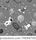 Space pattern with planets and stars. Astronaut 74608799
