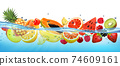 Fresh papaya and different berries and fruit in transparent water and oxygen bubbles. Vector illustration 74609161