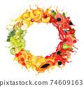 Fruit in juice splash panorama. Strawberry, raspberry, blueberry, blackberry, orange, guava, watermelon, pineapple, mango, peach. Vector. 74609163