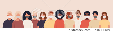Group of people with different nationalities wearing medical masks 74611489