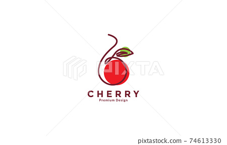 fruit red cherry with lines art colorful logo design vector icon symbol illustration 74613330
