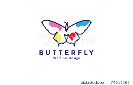 animal insect butterfly with line art modern colorful logo design vector icon symbol illustration 74613365