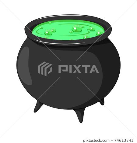 Cartoon witch cauldron isolated on white background 74613543