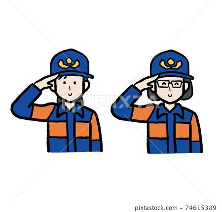 Illustration set of female fire brigade members 74615389