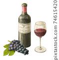 포도가 곁들여 진 레드 와인 그린 물 채색 연필 그림 74615420