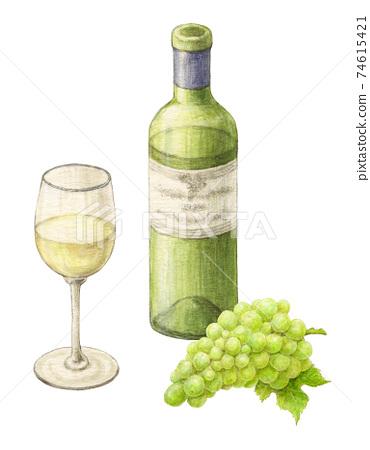 포도가 곁들여 진 화이트 와인 그린 물 채색 연필 그림 74615421