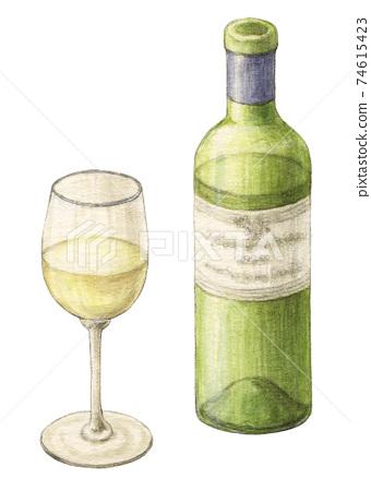 화이트 와인 그린 물 채색 연필 그림 74615423