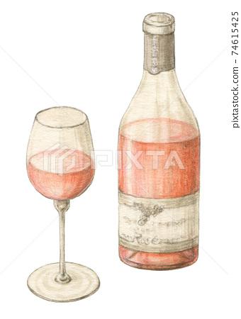 로즈 그린 물 채색 연필 그림 74615425
